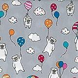 Nutex Nu131 Stoff für Hunde, Mops-Motiv, 100% Baumwolle,