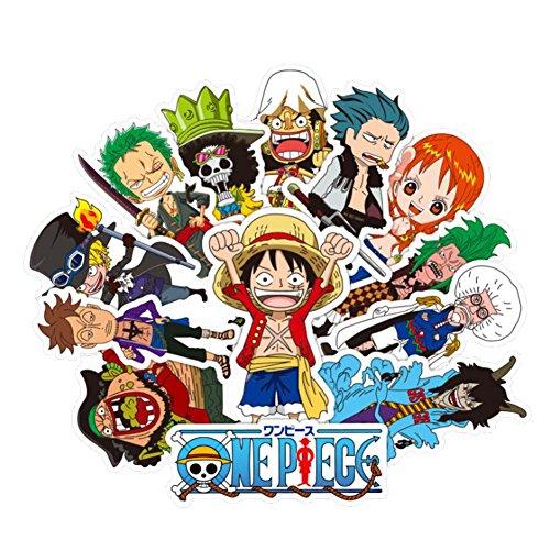 Bellenne 48 Stück One Piece Auto Aufkleber Vinyl Aufkleber Wandaufkleber Wandtattoo Autoaufkleber Autotattoo für Handy, Macbook, Laptop, Auto, Boote, Windows und Mehr