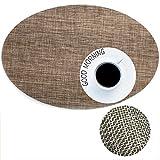 Demana oval-shape-Isolierung Platzsets abwaschbar schmutzabweisend mit Tisch mit Platzsets oval mit Platzsets braun