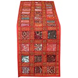RAJRANG Red Patchwork Table Runner Vintage Style Decorative Coffee Table Placemat 12 X 72 Inches Hand Embroidered Colorful Cotton Hippie Décor Runner