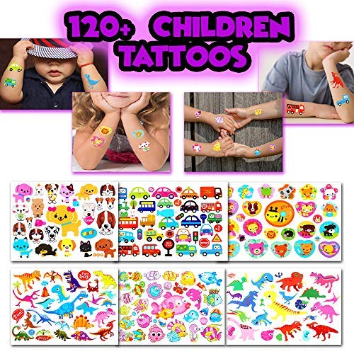 BETTERLINE Kids Temporary Tattoos - More Than 100 Assorted Body Art Design Tattoos for Children (Tattoos for Kids - 6 Sheets)