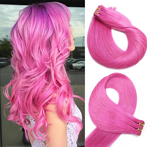 Tape in Echthaar Extensions Haare 24 Zoll/60cm #Pink 70g / 20PCS Brazilian Remy Hair Tape-in Haarverlängerungen seidige gerade Haut einschlag menschlichen Remy Haar (Echthaar-extensions Pink)