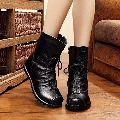 &zhou Femme Martin bottes d'automne et des bottes à la main d'hiver Black