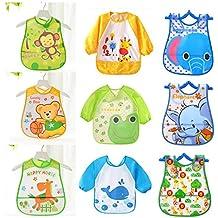 9 Baberos Impermeables Bebe Baberos ( 3 con Mangas Impermeables Larga) Unisex Para Bebés Niños/Niñas de 6 Meses a 3 Años ( 9 Baberos : 3 de Ellos con Mangas)