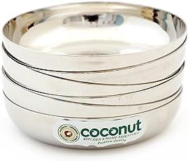 Coconut Stainless Steel Dezire Halwa Plates/Bowls - Set of 6 (15 cm Diameter)