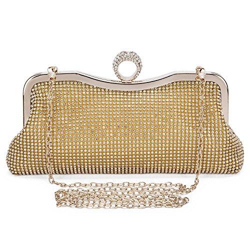 EULovelyPrice Damen Faux Perle Cascading Bead Strass Abend Handtasche (Gold)