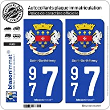 2 Autocollants plaque immatriculation Auto 977 Saint-Barthélemy - Armoiries