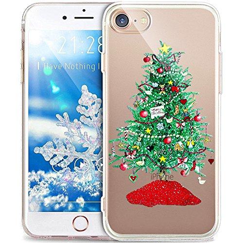 e iPhone 8/7 Hülle,ikasus Durchsichtig mit Xmas Christmas Snowflake Weißen Weihnachten Schneeflocke Hirsch Muster Klar TPU Silikon Handyhülle Schutzhülle,Grün Weihnachtsbaum ()