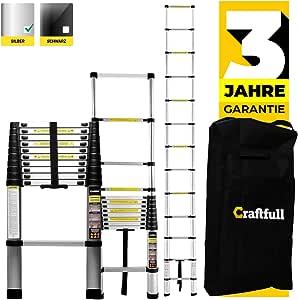 Craftfull Aluminum SOFT CLOSE Teleskopleiter inkl. Tragetasche - in 2/2,6/2,9/3,2/3,8/4,1/4,4 Meter - Mehrzweckleiter - Stehleiter - Aluminiumleiter - Leiter - Schiebeleiter - Aluleiter (2.0 Meter)