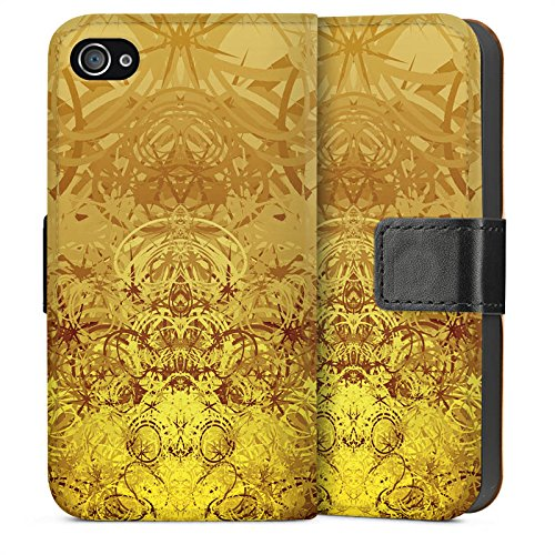 Apple iPhone 5s Housse Étui Protection Coque Or Motif Motif Sideflip Sac
