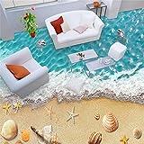 Lqwx Strand, benutzerdefinierten Hintergrundbilds Wasserdicht PVC-Folie, selbstklebend Wall Sticker 3D, Malerei Wandbild Tapete Fußboden-200 cmX 140cm