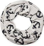 styleBREAKER Loop Schal im maritimen Anker Seil Print Look, Schlauchschal, Tuch, Unisex 01017049, Farbe:Hellgrau-Marine