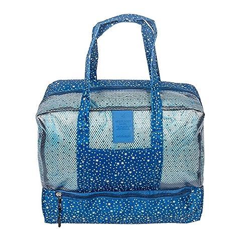 Fency Beach Bag Dry Wet Separate Waterproof Swimming Storage Handbag Zipper Tote … (Blue star)