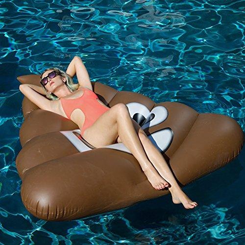 Neueste Aufblasbar Floß Schwimmen PVC Aufblasbarer Wasser Schwebebett Schwimm Bade Insel Ring Boot Wasserspielzeug für 2-3 Erwachsene & Kinder 165 × 150cm