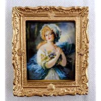 Melody Jane Dolls House Miniature Accessory Blue Lady Picture Painting Gold Frame