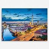 ge Bildet hochwertiges Leinwandbild - Berlin Skyline - Deutschland - 70 x 50 cm einteilig | Wanddeko Wandbild Wandbilder Wohnzimmer deko Bild | 2211 A