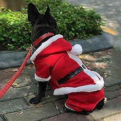 petleso cachorro perro abrigo de perro de Papá Noel disfraz de Navidad con un LED intermitente perro etiqueta