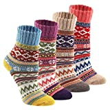 Bdawin Flauschig warme Alpaka Damensocken Winter Socken Wollsocken Strümpfe 4Paar,7020 C1
