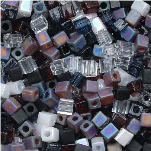 Miyuki 4mm Glass Cube Beads Color Mix Pebblestone, 10g, Black/White by Miyuki