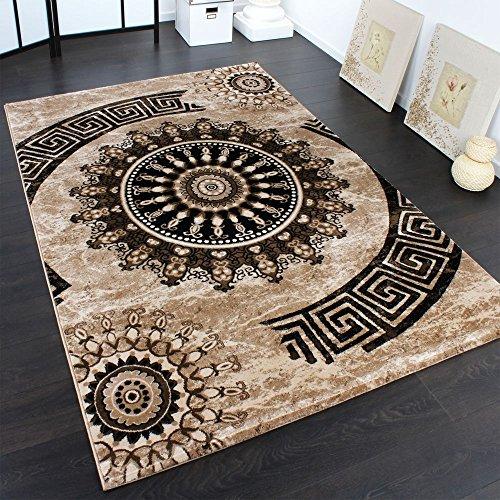 Paco home tappeto classico lavorato cerchio ornamenti marrone beige nero svendita, dimensione:200x290 cm