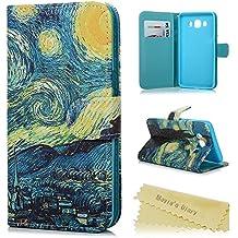 Funda para Samsung Galaxy J5 2016,Libro de PU Leather Cuero - Mavis's Diary Funda para móvil Carcasa Con Flip case cover,Cierre Magnético,Función de Soporte,Billetera con Tapa para Tarjetas-Diseño de Estrella