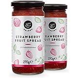 Marchio Amazon - Happy Belly, marmellata alla fragola, solo frutta selezionata, 100% frutta, 2 confezioni da 270 g
