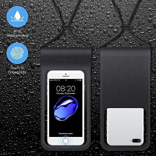 TYCKA Funda Impermeable Universal, Estuche Impermeable para Teléfono IPX8 Con Bolsa Seca con Broche de Seguridad para iPhone, Samsung Galaxy, Google Pixel 2 HTC LG Sony MOTO hasta 6.0 Black