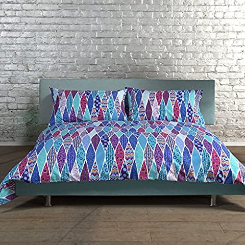 Just Contempo 100% Cotton Scandi Peacock Feather Duvet Cover Set, Pink Teal and Purple Blue, Double