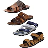 Super Men's Multicolor Combo Pack of 4 and Casual Wear Canvas Sandals & Floaters(Size -6)