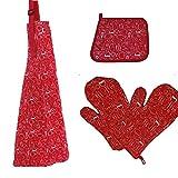 4-teiliges Set 1Paar hitzebeständig Küche Ofen Handschuhe + Baumwolle Schürze + Toaster Pad Topflappen für Kochen Backen Grill rot