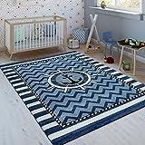 Paco Home Kinderteppich Indigo Blau Weiß Maritim Trend 3D Matrosen Design Kurzflor, Grösse:160x230 cm