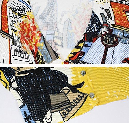 Dooxi Donna Autunno Stampa Floreale Cardigan Manica Lunga Aria Condizionata Corto Maglieria Giacca Come immagine