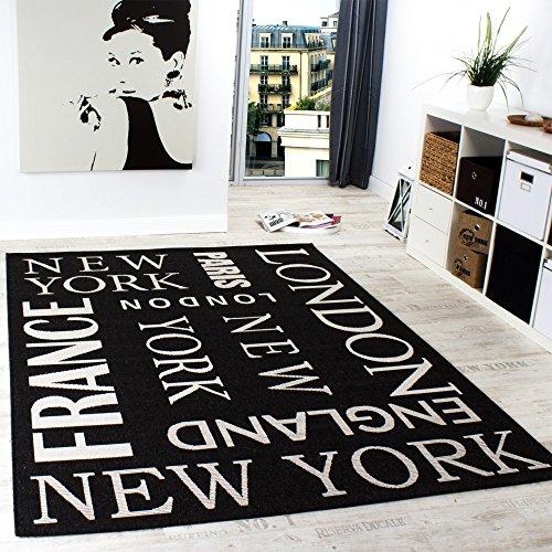 PHC In- & Outdoor Teppich Modern City Sisal Optik Flachgewebe Designer Anthrazit, Grösse:80x200 cm