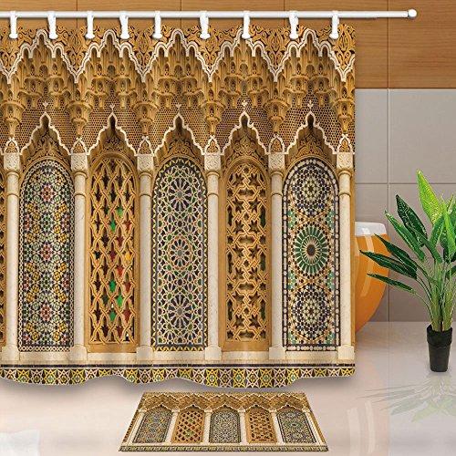 Nyngei Rustikale Marokkanische 3d, geometrische Muster Marokko 180x 180cm Schimmel Wasserdicht Polyester Stoff Duschvorhang-Set mit 60x 40cm Flanell, rutschfest, Fußabtreter, Teppich (Stoff Marokko)