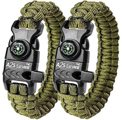 Imagen de  a2s proteccion paracord pulsera k2 peak  juego de equipo de supervivencia con brújula integrada, encendedor de fuego, cuchillo de emergencia y silbato verde/verde