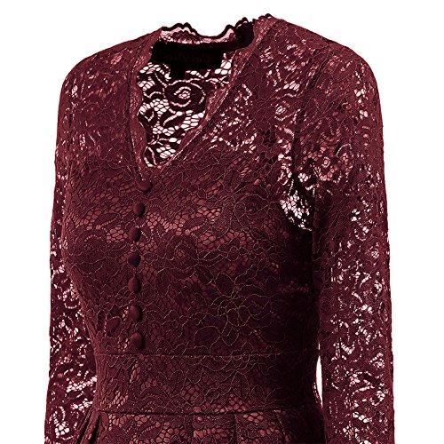 iBaste Elegante Vestiti Donna Manica Lunga Cocktail Pizzo Abito da Sera V Collare Rosso