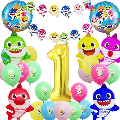 JOYMEMO Baby Shark Party Supplies Geburtstag Dekorationen, Baby Shark Folienballons, Shark Bunting Banner, Gold Ballons für den ersten Geburtstag, Baby Shower