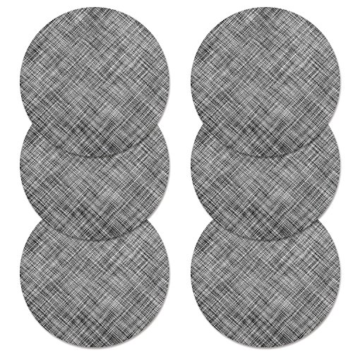 Sets de Table, U'ARTLINES Lot de 6 Set de Table tressé en PVC Lavable Résistant à la Chaleur Antidérapant pour Salle à Manger, Set de Table Rond 35x35cm(rond,gris)