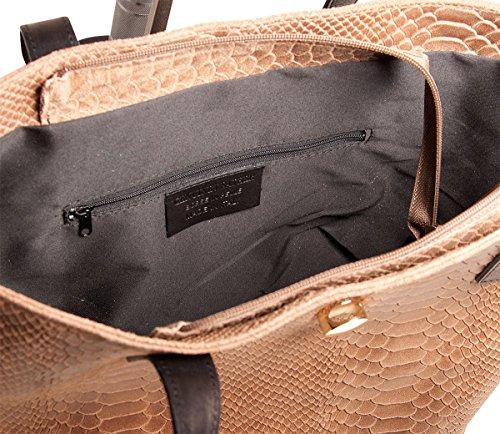 Shopper In Pelle Da Donna Pelle Italia 32x25x14 Cm (lxhxp), Colore: Blu Verde