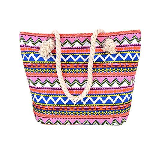 Zarupeng Frauen Böhmische Art Schulter Beutel Kapazitäts Segeltuch handtasche Pink