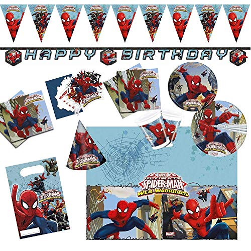 Procos 10108574B Kinderpartyset Ultimate Spiderman Web Warriors, Größe XL, 72 teilig