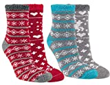 Vitasox 12800 Thermo Socken Damen Thermosocken Kuschelsocken Wintersocken Weihnachtssocken rot türkis 4er Set 39/42