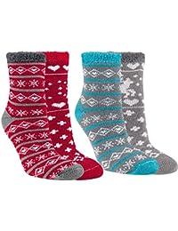 Vitasox Thermo Socken Damen Thermosocken Kuschelsocken Wintersocken Weihnachtssocken bunt 2er oder 4er Set