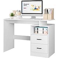 Bureau Table d'étude Bureau d'ordinateur Table pour Chambre avec 2 Tiroirs et 1 Compartiment Ouvert Moderne 108x48x76…