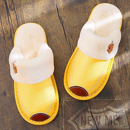 JINSH Home Baumwollpantoffel weiblicher Winterhauswarmes Plüschlederhefterzufuhrenpaar-Männerpelz Innen-Rutschfeste Hauspantoffel (Color : Yellow, Size : 3)