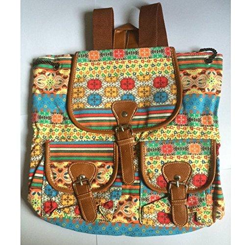 Sammua Blumen Blumensegeltuch Rucksack mit Kordelzug Lederschnallen Schultasche Schulter Daypack für Mädchen - D A