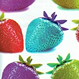 Hule PVC Multicolor / Tela laminada - fresas psicodélicos - rojo fresa, púrpura, verde y azul turquesa sobre un fondo blanco - ancho: 140 cm (1 metro)