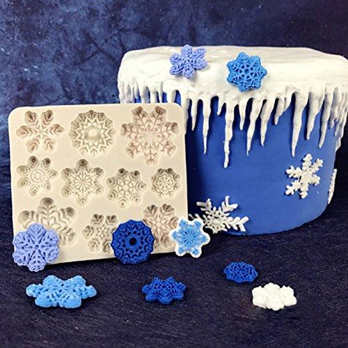 Bolange Kuchenform Silikonform 3D, Weihnachtsschneeflockefondant-Kuchenform-Küchenwerkzeuge - gelegentliche Farben