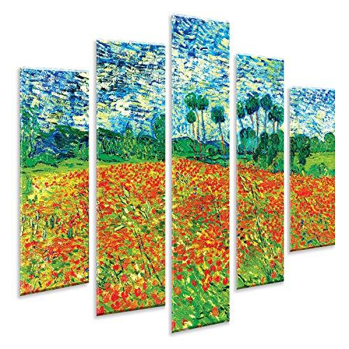 Giallobus - 5 Stück Multipanel-Panel - Vincent Van Gogh - Poppy Field - Auf Forex drucken - bereit zu hängen - 140x100 cm -