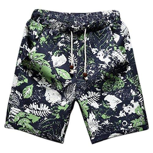 CHENGYANG Herren Große Größe Leinen Freizeit Shorts Druck Boardshorts mit Taschen 5121